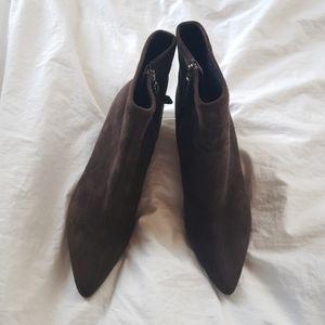 Prada suede ankle booties kitten heels